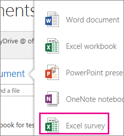 Create Excel survey in OneDrive for Business