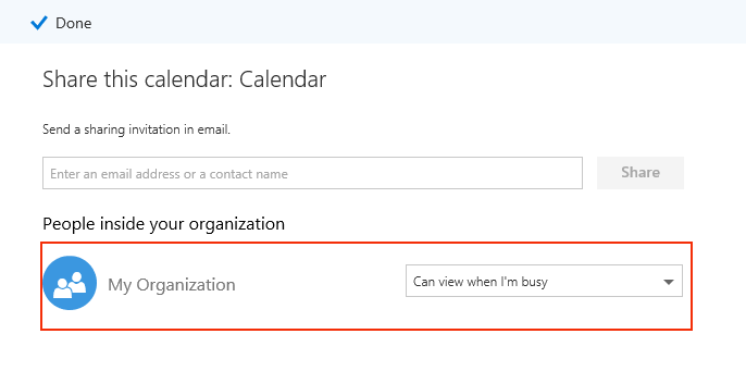screen capture: highlighting the my organization's drop down box.