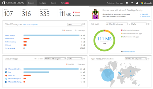 In the Office 365 CAS portal, choose Discover > Cloud Discovery dashboard