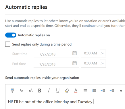 Creating an out of office reply in Outlook on the web