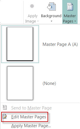 Edit your Master Pages in Publisher 2013.