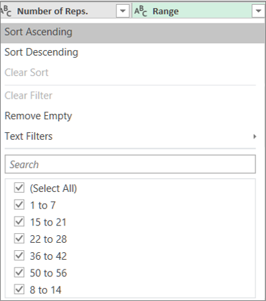 Using the AutoFilter to see the ranges created