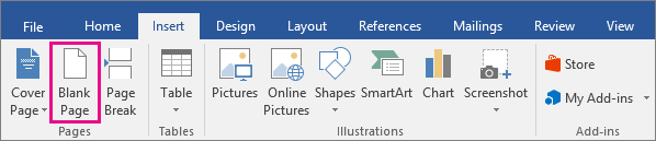 The Blank Page icon is highlighted on the Insert tab