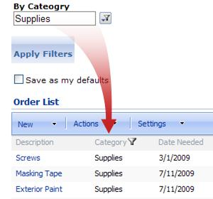 The Choice Filter Web Part filters the Order List by supplies.