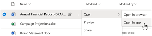 The Open > Open in app menu option selected for a Word file in the OneDrive online portal