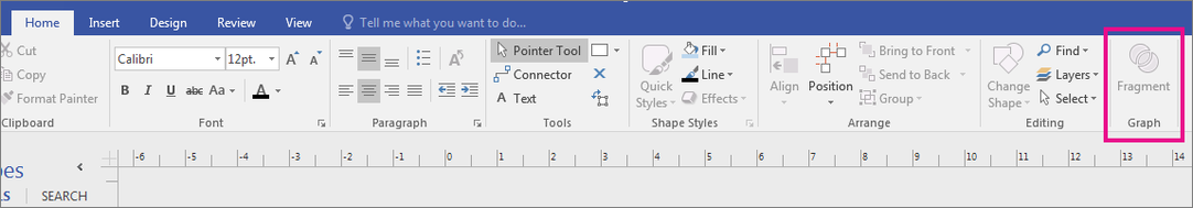 Fragment in the Graph area appears on the Visio Home tab.