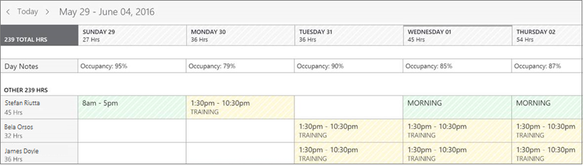 Example of a schedule page in StaffHub web app