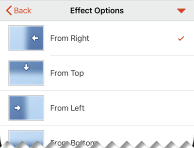 Effect Options for transitions.