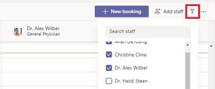 Filter booking calendar