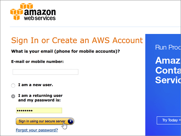 Sign in to your AWS account
