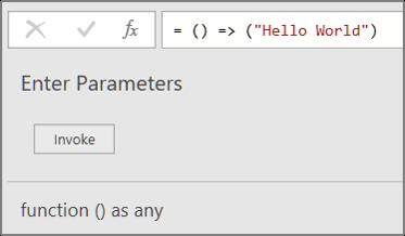 Invoking the HelloWorld custom function