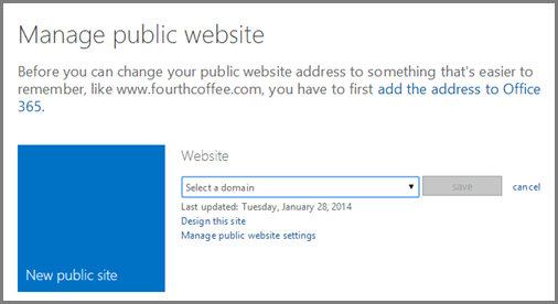 Manage public website dialog, showing Select a domain