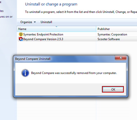 Windows now starts the uninstall process. After completion you'll receive a status message, which you confirm by selectingOK