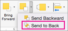 Send to Back on the Send Backward menu