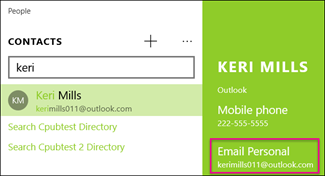 Send email to a contact from the People app in Windows 10 - Office ...