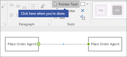 """Click here when you're done"" pointing to Pointer Tool command"