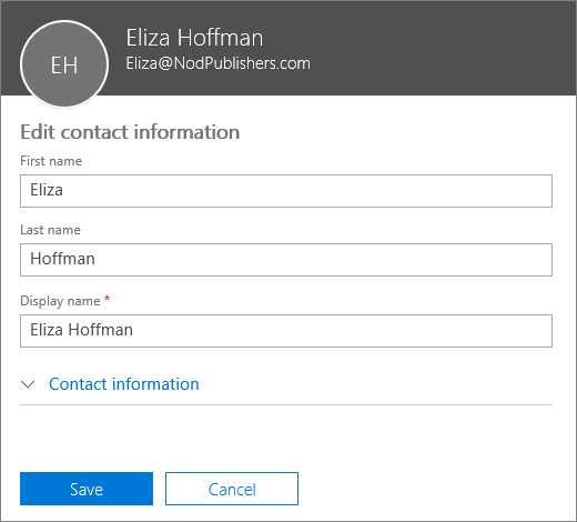The edit contact pane where you can type a new first, last, and display name.