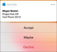 Meeting notification with name, location, and accept, maybe and decline options
