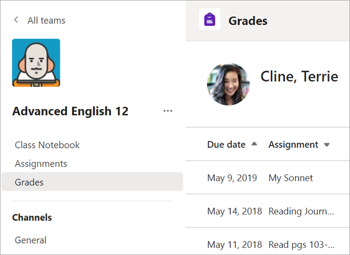 Select the Grades tab in the General channel.