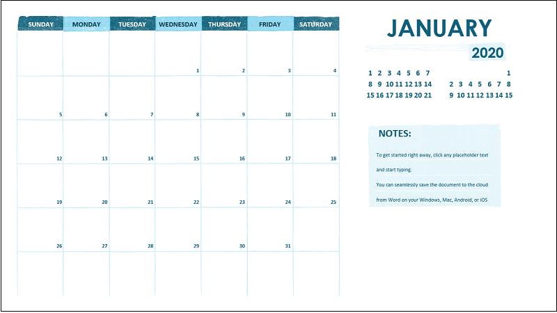 A monthly academic calendar
