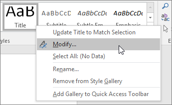 Right-click a style, then click Modfiy