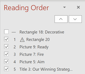 The Reading Order pane.