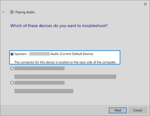 choose your device in the audio troubleshooter