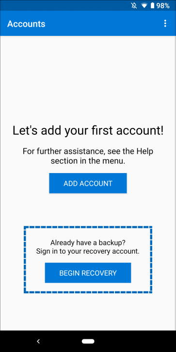 Microsoft Authenticator app, showing where to select Begin recovery