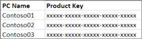 Example two column product key list.