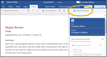 Review tab with Resume Assistant circled in yellow