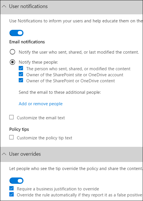 User notifications section and User overrides section