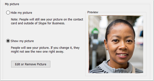 My Picture Options dialog