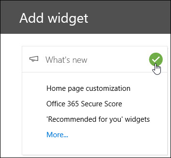 Screenshot of the Add Widget flyout in the Security & Compliance Center