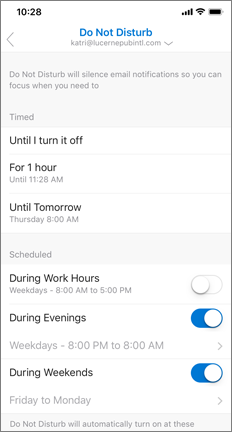 Do not disturb screen with During Evenings and During Weekends enabled