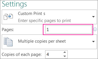 Print pages box, set what pages to print.