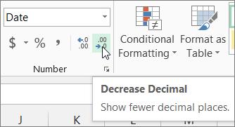Decrease Decimal button