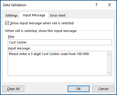 Input message settings in the Data Validation dialog box