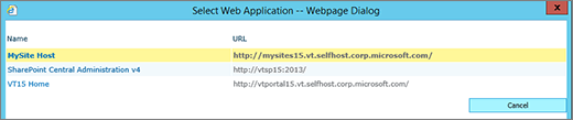 Select an web app from the change web app page