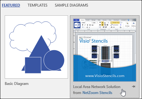 Visio template thumbnail provided by a third party vendor