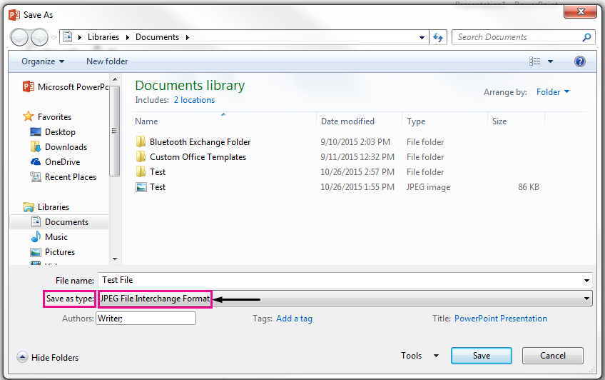 In the Save As dialog box, identify the type of file you want your slide saved as.