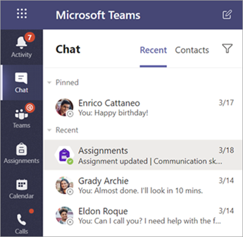 A student's private chats in Teams