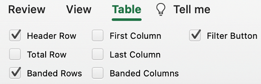 Table Header Row selected in Excel for Mac.