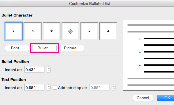 Customize Bulleted List dialog box