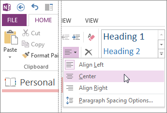 Change the amount of space between lines with the Paragraph Alignment options.