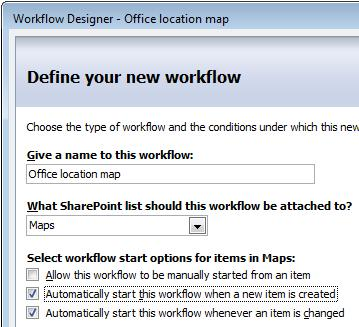 first page of workflow designer