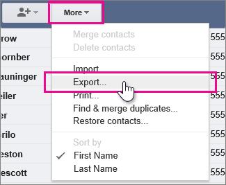 Google Gmail - Click more, export