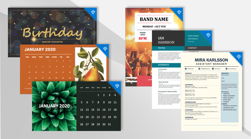 Photo of an assortment of templates styles