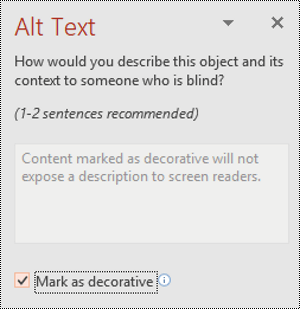Mark as Decorative check box selected in PowerPoint for Windows