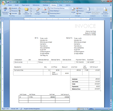 Print invoices and quotes in Word