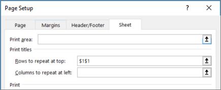 Sheet tab in the Page Setup dialog box